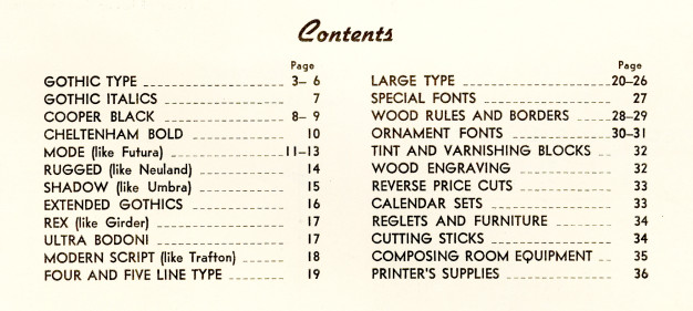 American Wood Type Mfg Co, Catalog No 36, contents