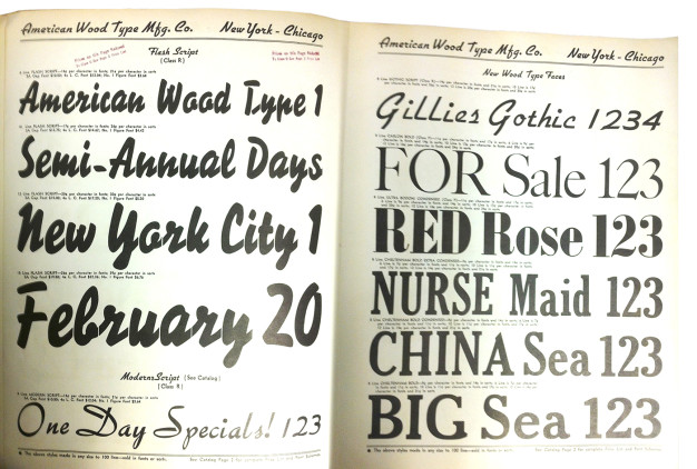 American Wood Type Mfg Co, Catalog No 36, unnumbered pages