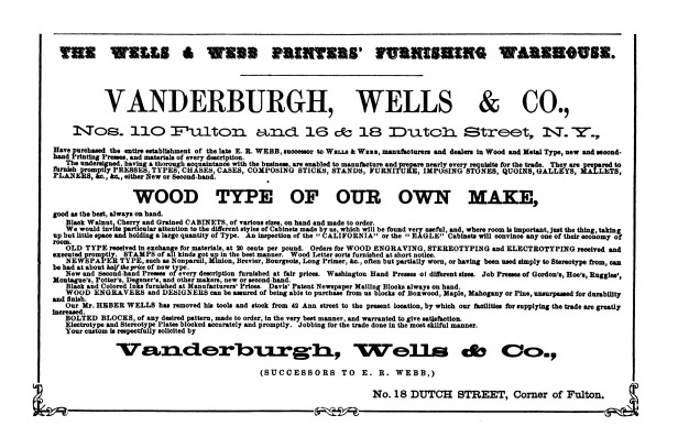 ½ page advertisement, The Printer, v6, n1, January 1865, pg11.