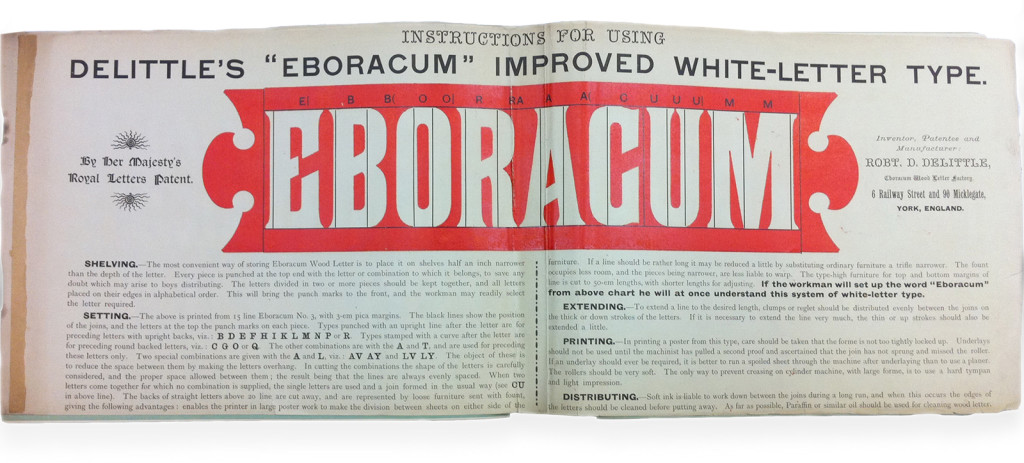 """Eboracum"" improved white-letter type, R.D. DeLittle, ""Emboracum"" Wood Letter Factory, 1892,  St Bride Library (StB 19416)"