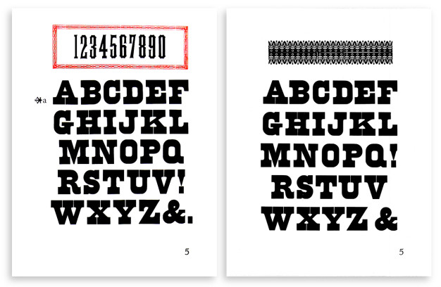 Two versions of folio page number 5, 1958 (left) and 1964 (right).