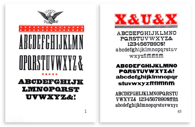 Final versions of folio page 1 (left) and page 45 (right).