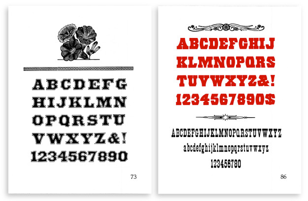 Final versions of folio page 73 (left) and page 86 (right).