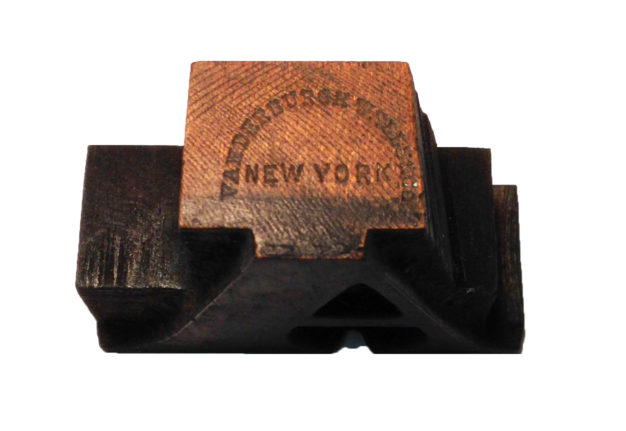Stamp used by Vanderburgh, Wells & Co 1867–1890.